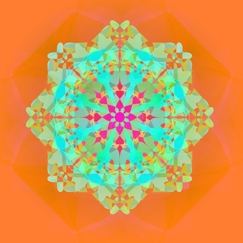 HELLE SPITZE-BLUMEN-MANDALA IM TÜRKIS, AQUAMARIN, ORANGE, FUCHSIE Abstrakter Hintergrund in der Orange lizenzfreie stockfotografie