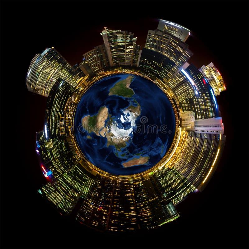 Helle Stadt-Lichter auf Miniaturplaneten-Erde stockbild