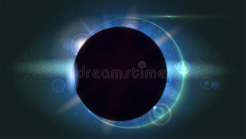 Helle Strahlen und Blendenfleckhintergrund Lichteffekt des Glühens Stern-Explosion mit Scheinen Sonnenfinsternis, astronomisches  vektor abbildung
