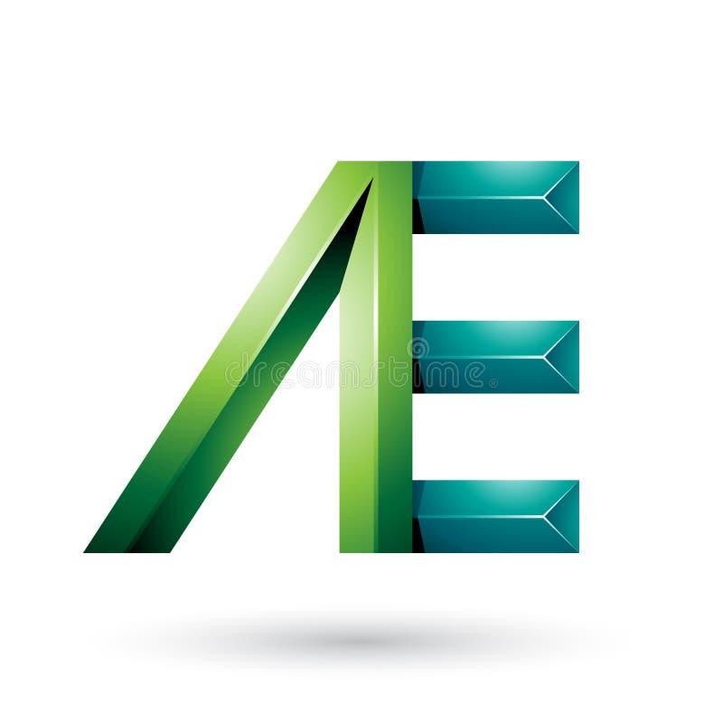 Helle und dunkelgrüne Pyramide wie die Doppelbuchstaben von A und von E lokalisiert auf einem weißen Hintergrund stock abbildung