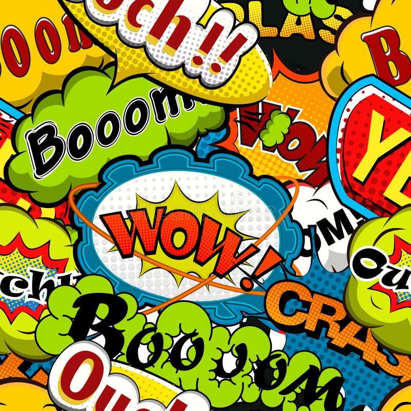 Helle und mehrfarbige Comics-Rede sprudelt nahtloses Muster lizenzfreie abbildung