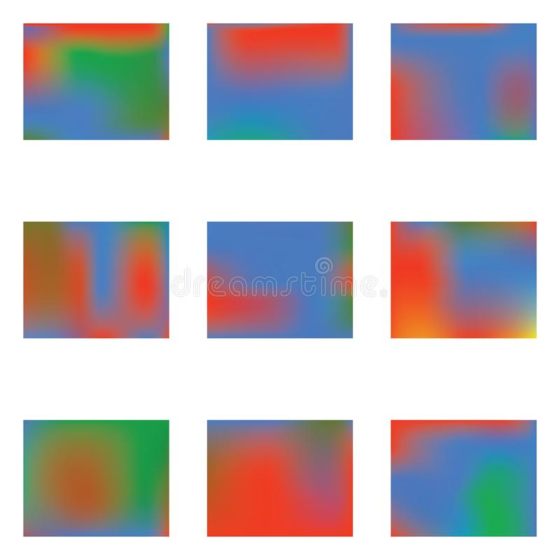 Helle unscharfe Grafiken von den verschiedenen Kombinationen von Farben und von Schatten stock abbildung