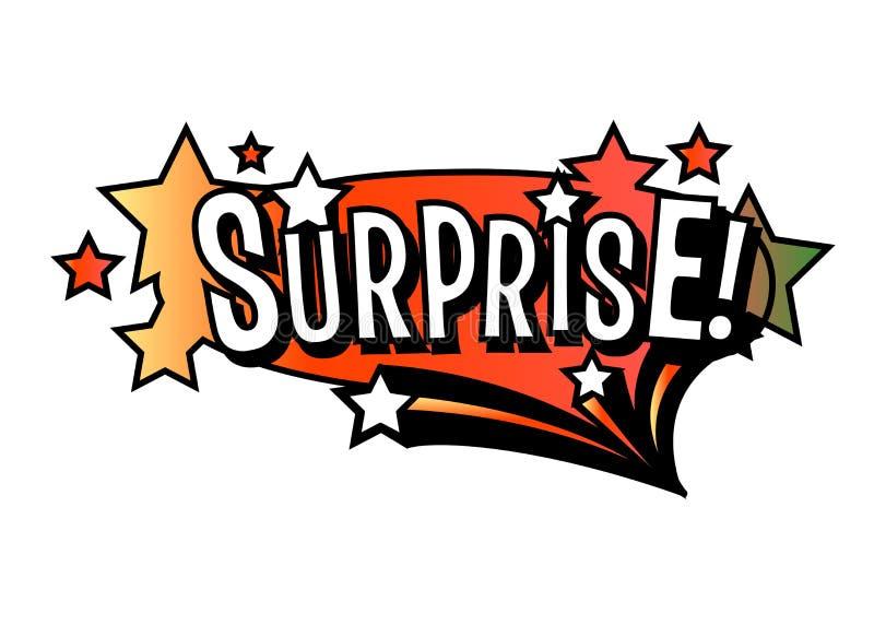 Helle Vektor Überraschungsspracheblase Bunte emotionale Ikone lokalisiert auf weißem Hintergrund Komische und Karikaturart stock abbildung