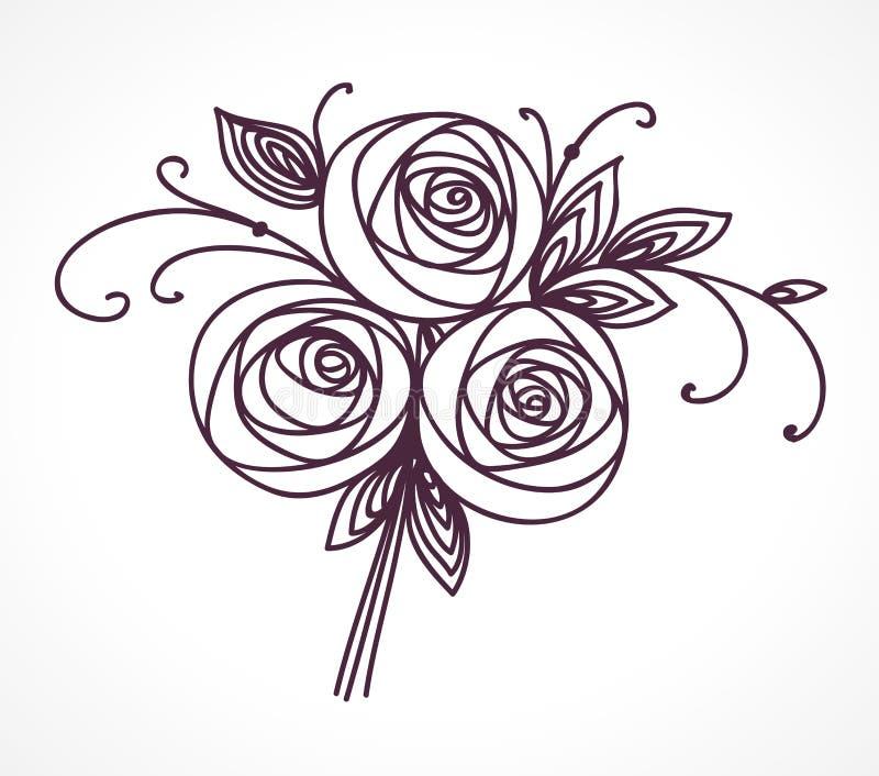 Helle vektorabbildung Stilisierte Rosenhandzeichnung lizenzfreie abbildung