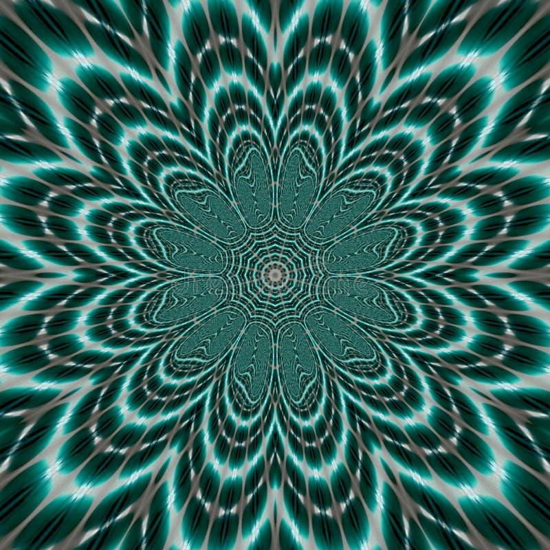 Helle vibrierende Mandala Blume des Lebens auf dunklem Knickentenhintergrund, einem geistigen Symbol und heiliger Geometrie in sc lizenzfreie abbildung
