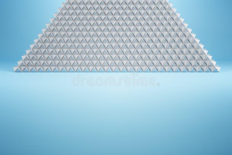 Helle weiße Pyramide auf blauem Hintergrund stock abbildung
