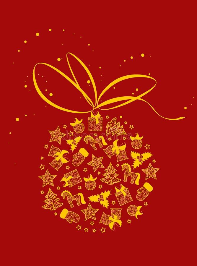 Helle Weihnachtsillustration Gelbe Weihnachtsspielwaren lizenzfreie abbildung