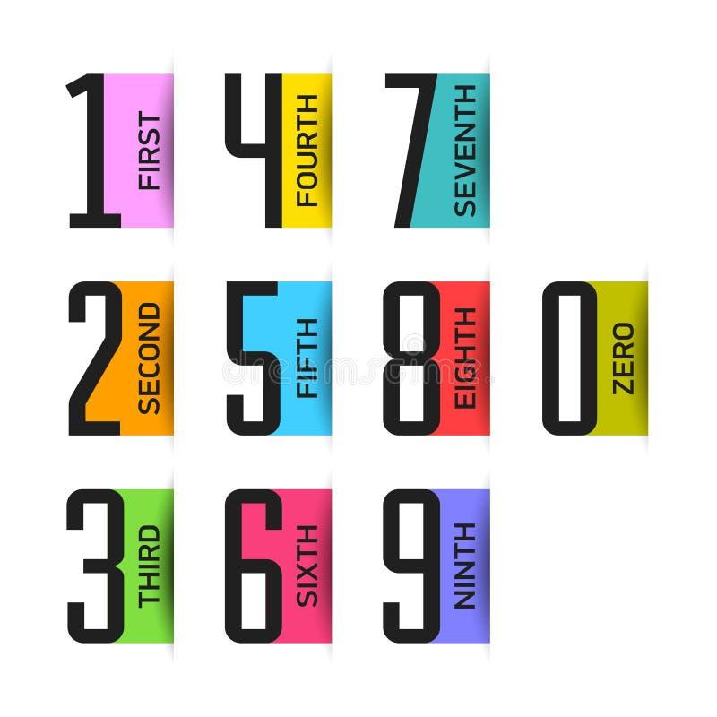 Helle Zahlen eingestellt vektor abbildung