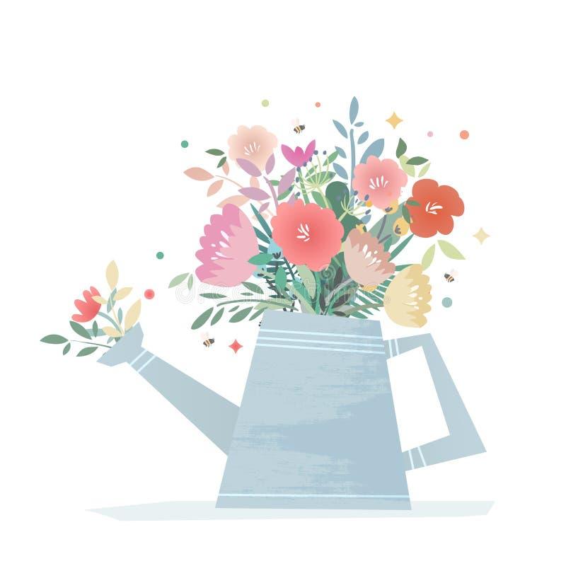 helle Zusammensetzung von Blumen in einer Gartengießkanne lizenzfreie abbildung