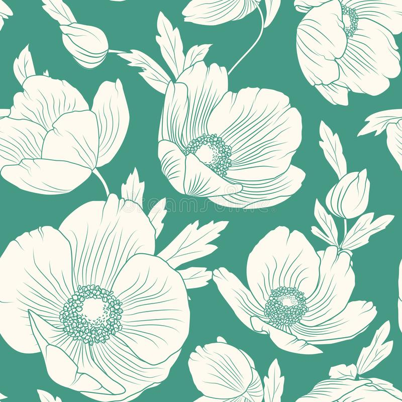 Hellebore poppy flowers seamless pattern teal blue royalty free illustration