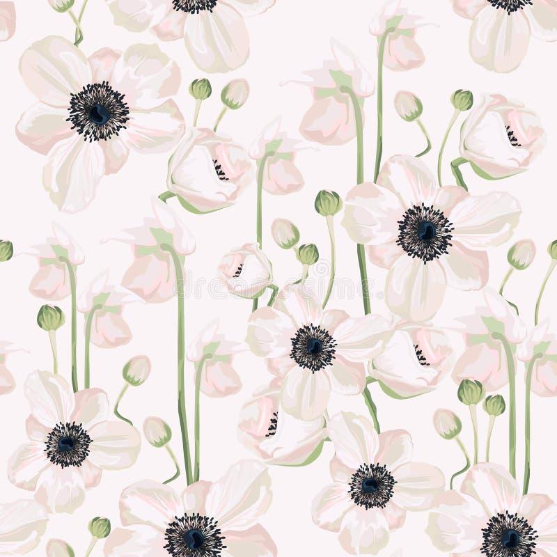 Helleboreanemonjul övervintrar rosa blom- sömlös modelltextur Rosa färgsvartblommor med gräsplan lämnar lövverk på vit nav vektor illustrationer