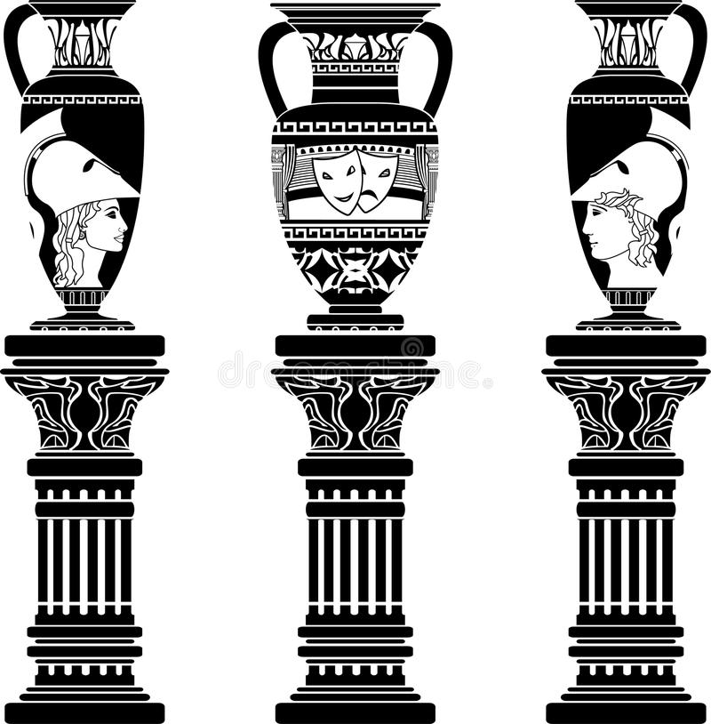 Free Hellenic Jugs With Columns Stock Image - 21913941
