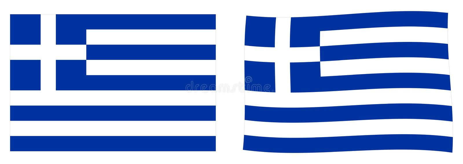 Hellenic Republic Greece flag. Simple and slightly waving vers royalty free illustration