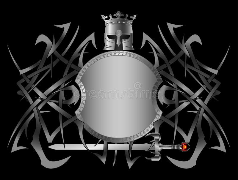 hellenic sköld för fantasi vektor illustrationer