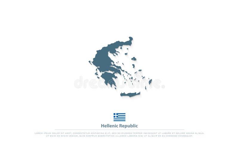 Hellenische Republik lokalisierte Karte und griechische offizielle Flaggenikonen lizenzfreie abbildung