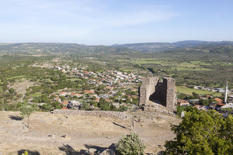 Hellenistic Turm Troya Die Türkei stockfotos
