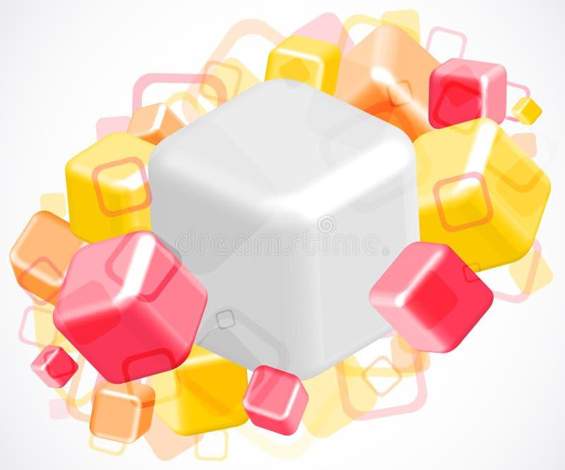 heller abstrakter Hintergrund 3d mit Würfeln lizenzfreie abbildung