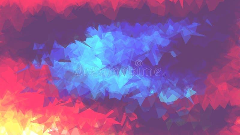 Heller abstrakter Hintergrund mit kristallener Struktur Muster der Dreiecke Der Kontrast von heißen und kalten Farben lizenzfreie abbildung