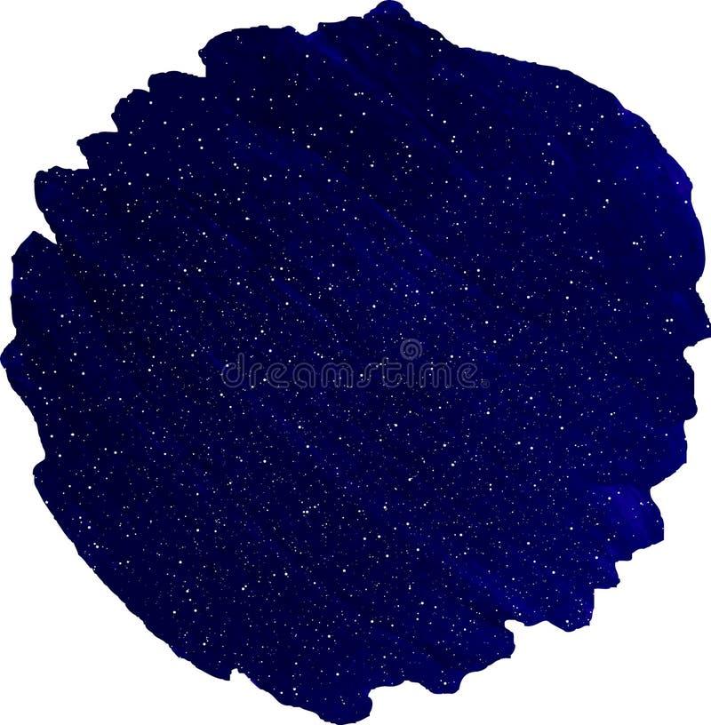 Heller blauer Kreisaquarellfleck auf weißem Hintergrund lizenzfreie abbildung