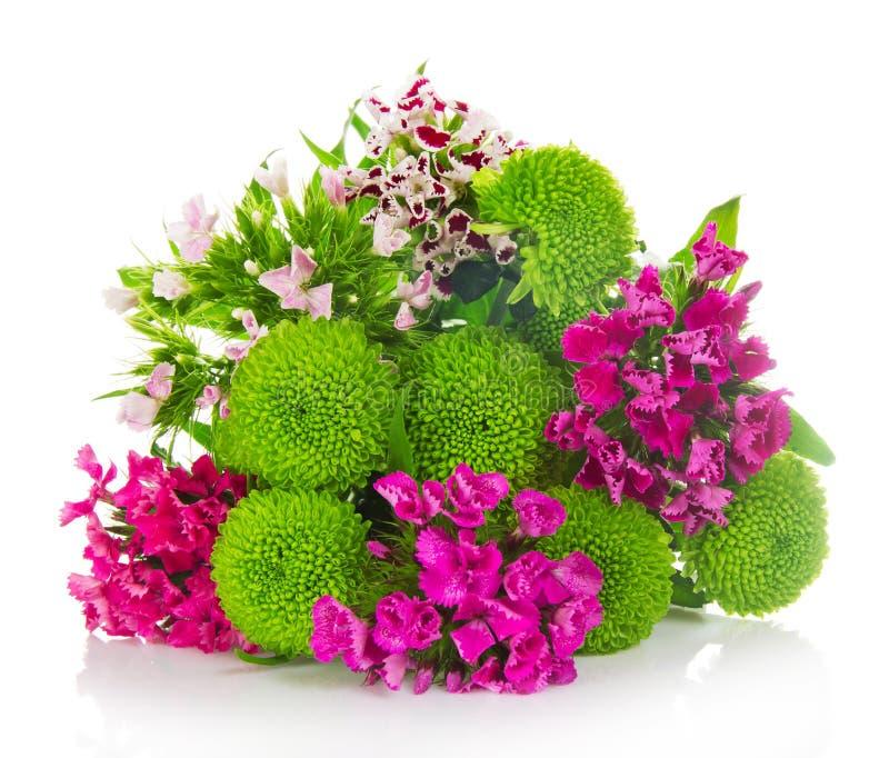 Heller Blumenstrauß von grünen Chrysanthemen stockfotografie