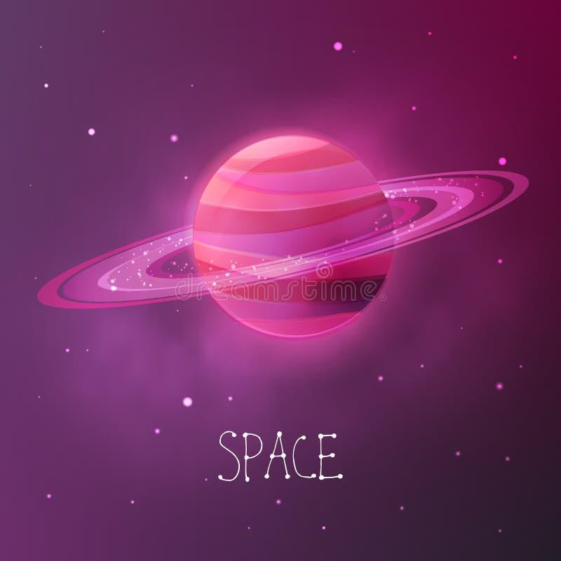 Heller bunter Planet mit planetarischen Ringen Raumvektorillustration im modernen zeitgenössischen Design lizenzfreie abbildung