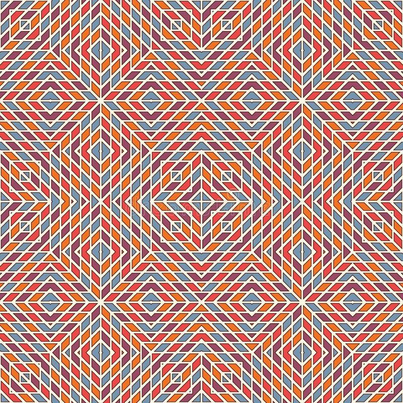 Heller Buntglasmosaikhintergrund Nahtloses Muster mit geometrischer Verzierung des Kaleidoskops Checkered Tapete vektor abbildung