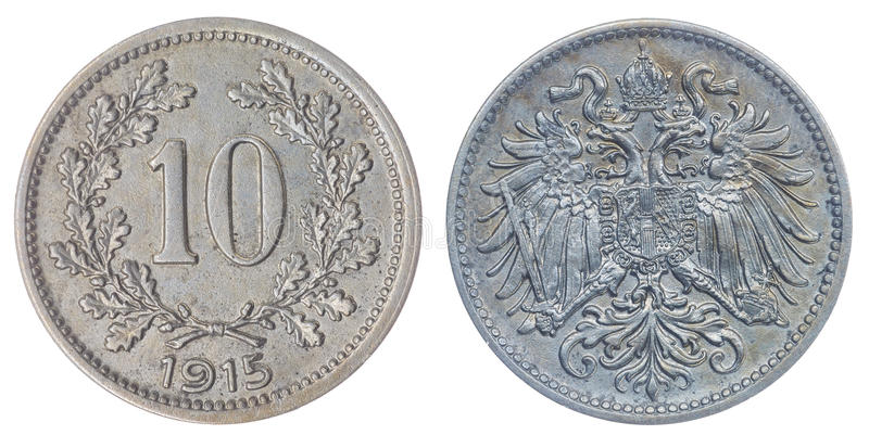 10 heller 1915 coin isolated on white background, Austro-Hungarian Empire. Copper Nickel 10 heller 1915 coin isolated on white background, Austro-Hungarian royalty free stock images