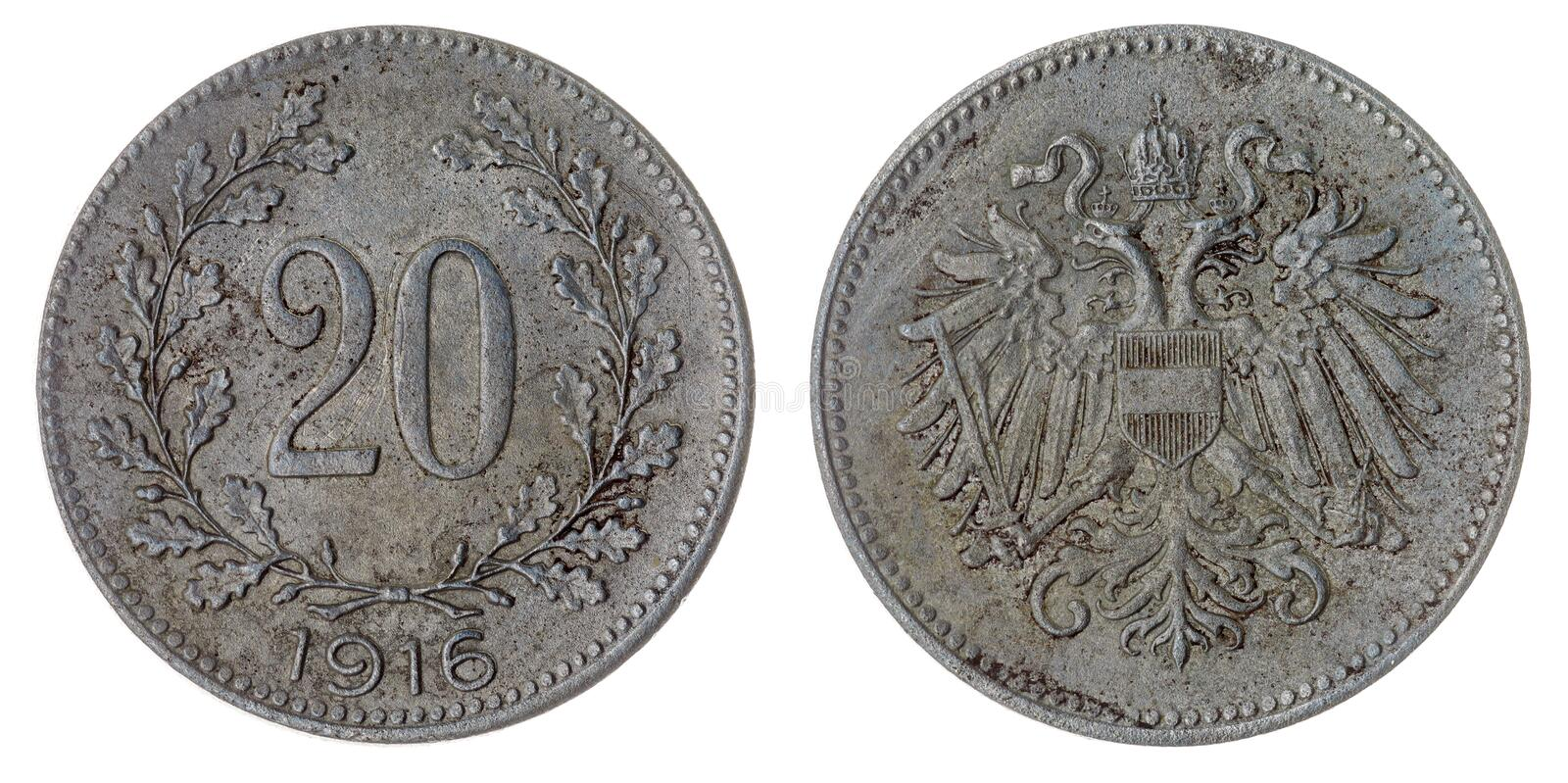 20 heller 1916 coin isolated on white background, Austro-Hungarian Empire. Iron 20 heller 1916 coin isolated on white background, Austro-Hungarian Empire stock photography