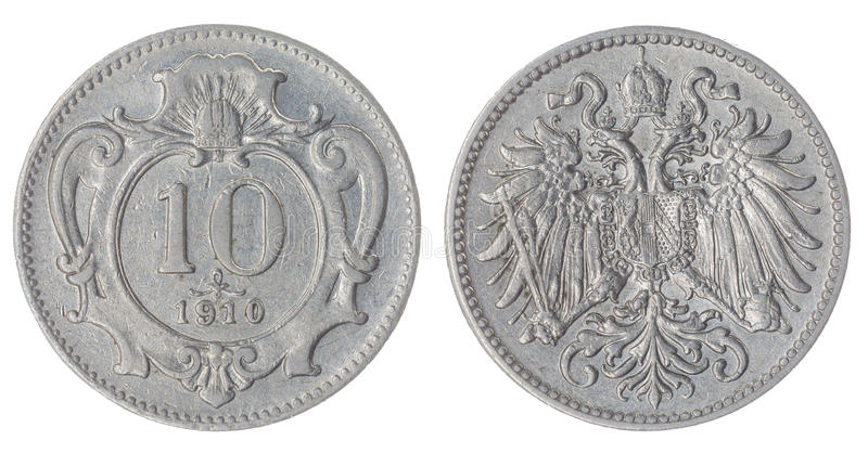 10 heller 1910 coin isolated on white background, Austro-Hungarian Empire. Nickel 10 heller 1910 coin isolated on white background, Austro-Hungarian Empire royalty free stock image