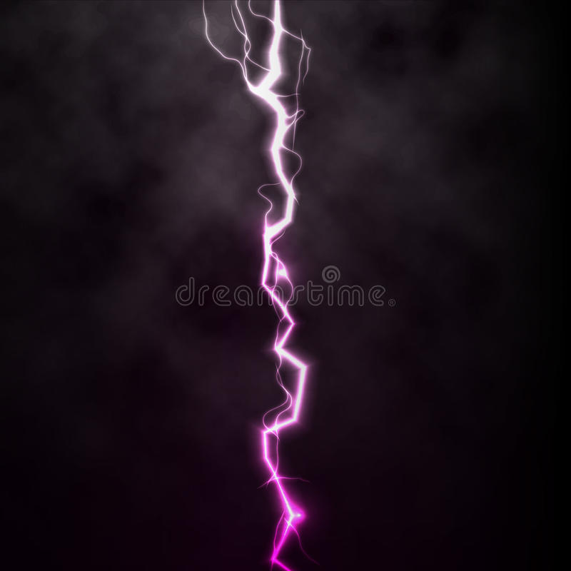 Heller Donnerfunken des Blitzes auf schwarzem Hintergrund mit Wolken Vektorfunkenblitz oder Stromexplosionssturm lizenzfreie abbildung