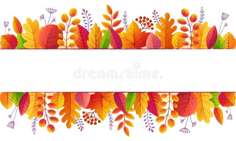 Heller Fall färbt Herbstlaublinien Fahnenhintergrund lokalisiert auf Weiß vektor abbildung