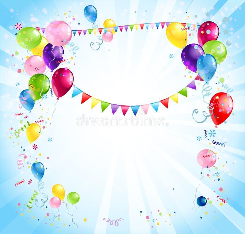 Heller Feiertagshintergrund mit Ballonen stock abbildung