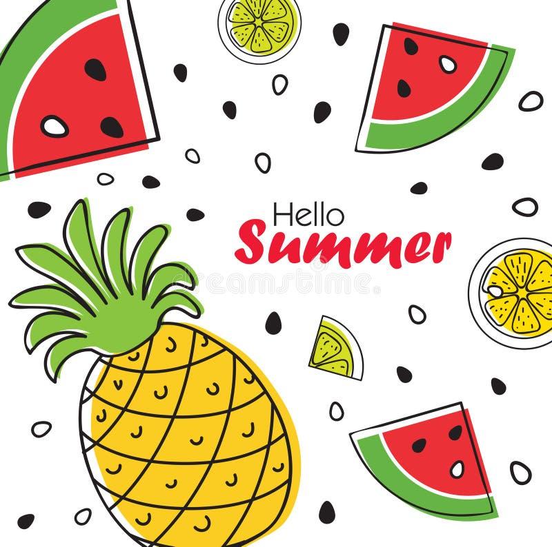 Heller Fruchthintergrund des Sommers mit Ananas, Scheiben der Orange und Wassermelone lizenzfreie abbildung