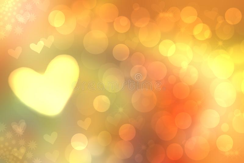 Heller gelb-orangeer Pastellhintergrund der abstrakten festlichen Unsch?rfe mit gelben Herzen lieben bokeh f?r Muttertag, -Valent stock abbildung
