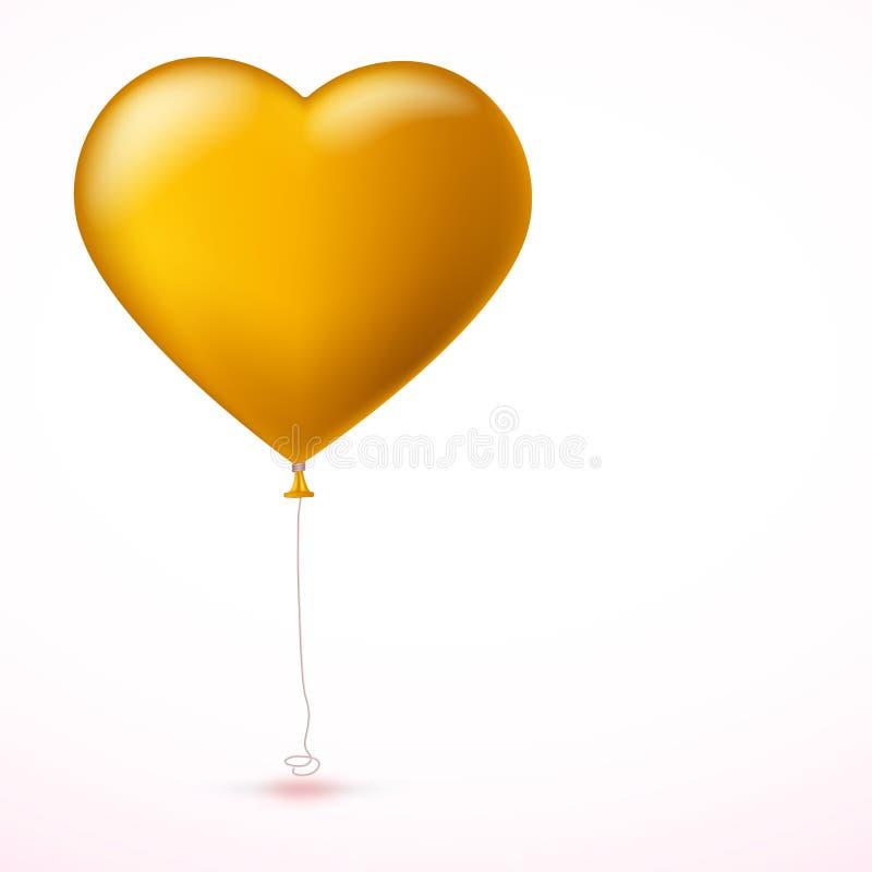 Heller gelber aufblasbarer Ballon in Form des großen Herzens mit Band auf weißem Hintergrund stock abbildung