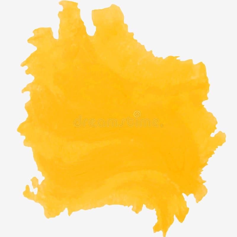 Heller gelber Farbenfleck lokalisiert auf weißem Hintergrund ?lfarbefleck vektor abbildung
