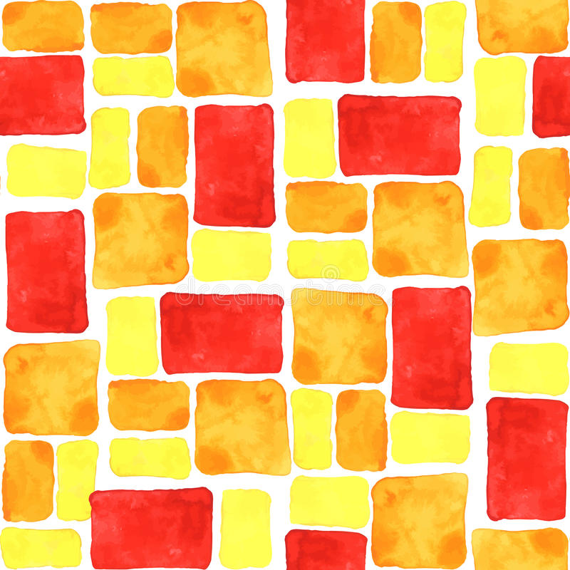 Heller gelber, orange, roter nahtloser Aquarellfliesenhintergrund stock abbildung