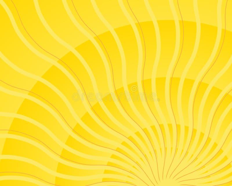 Heller gelber wellenförmiger Sonnestrahlleuchte-Impulsvektor lizenzfreie abbildung