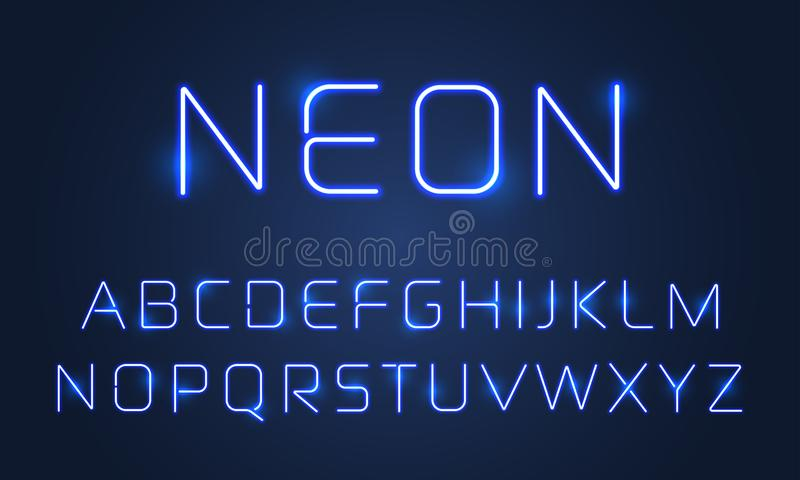 Heller Gussalphabet-Buchstabeneonsatz Vektorblauer ultravioletter Neonalphabetguss-Lampeneffekt vektor abbildung