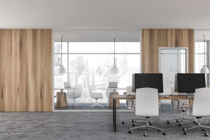 Heller hölzerner Büroinnenraum des offenen Raumes stock abbildung