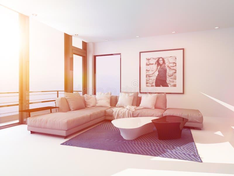 Heller heller Wohnzimmerinnenraum gebadet in der Sonne lizenzfreie abbildung