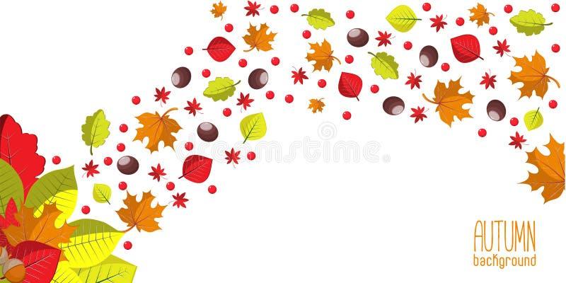 Heller Herbsthintergrund für Einladung oder Anzeigenschablone mit Kranz von den Blättern, von den Samen und von den Nüssen lizenzfreie abbildung