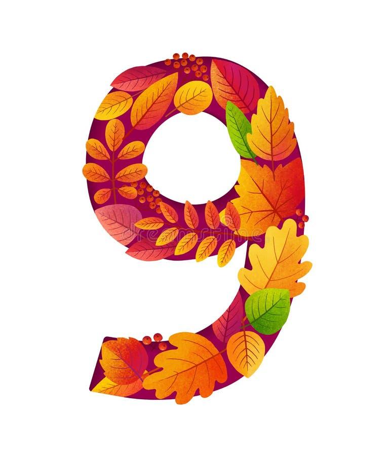 Heller Herbstlaub zahlreich neun Form, Geburtstagsdatum oder Altersvektorsymbol lokalisiert auf weißem Hintergrund lizenzfreie abbildung