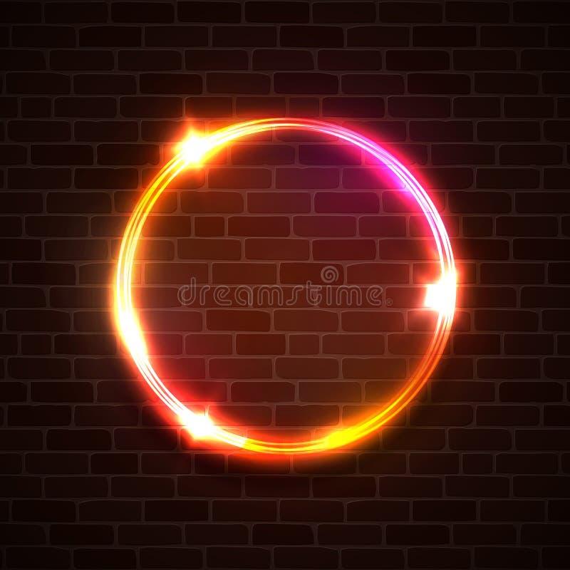 Heller Hintergrund der Technologie Neonkreis auf Ziegelstein lizenzfreie abbildung