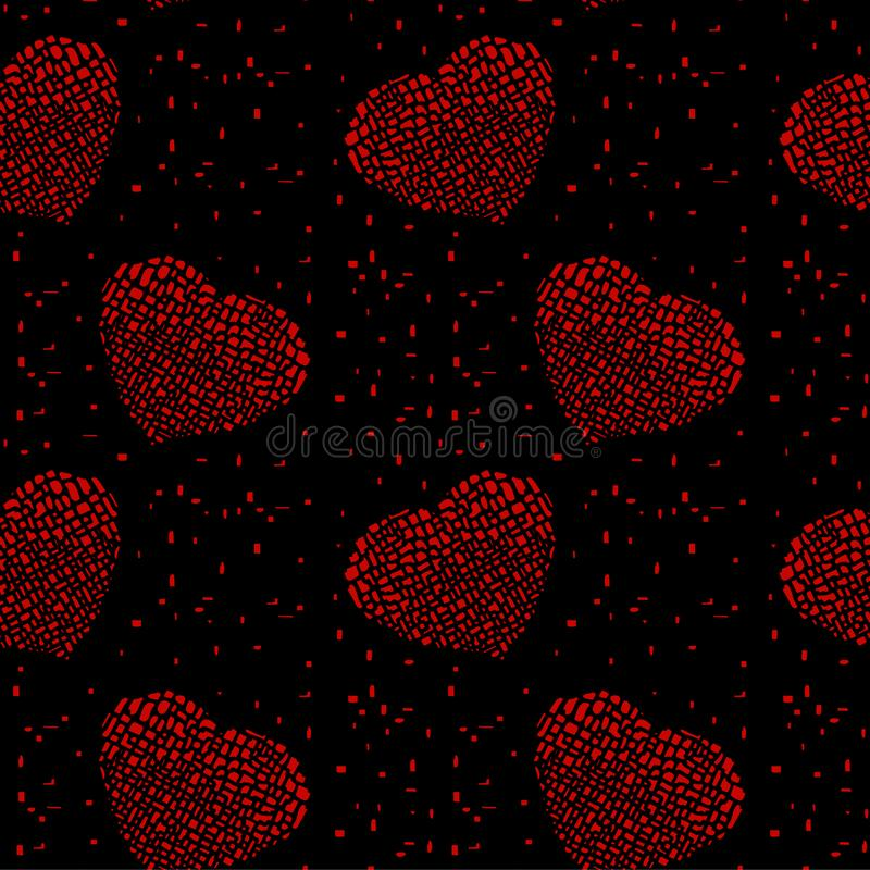 Heller Hippie verkratzte defekte rote Herzen auf einem schwarzen Hintergrund vektor abbildung