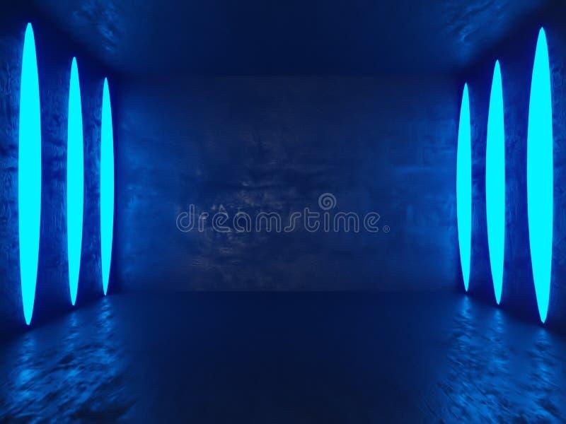 Heller konkreter Raum mit leerem Plakat Galerie, Ausstellung, Werbekonzeption Spott oben, Illustration 3D vektor abbildung