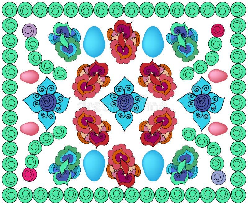 Heller kopierter Hintergrund mit Eiern, mit Kreisen, mit Farben und verschiedenen Elementen lizenzfreie abbildung