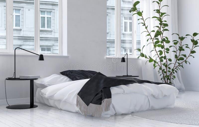 Heller luftiger weißer Schlafzimmerinnenraum lizenzfreie abbildung
