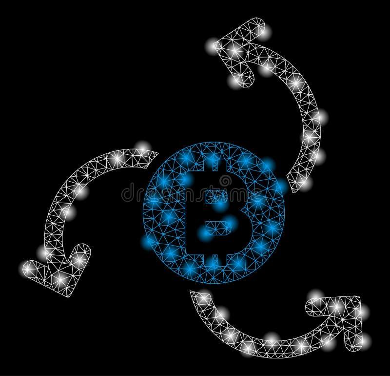 Heller Mesh Carcass Bitcoin Source Swirl mit grellen Stellen lizenzfreie abbildung