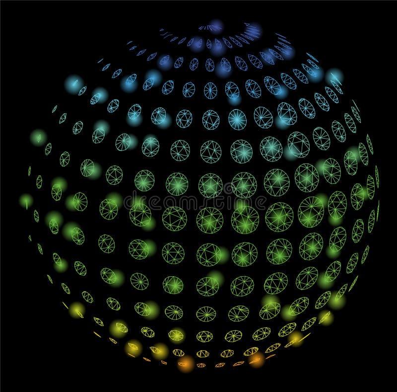 Heller Mesh Carcass Dotted Halftone Sphere mit Aufflackern-Stellen vektor abbildung